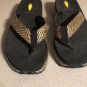 Volatile size 8 Black Wedge Sandals.  Cute Black and Tan  Weave Fabric.